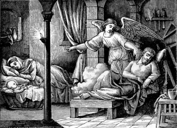 angel warns Joseph to flee into Egypt